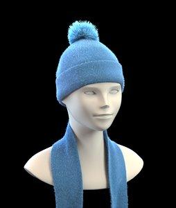 3d winter cap scarf model
