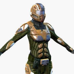 sci-fi armor female 4 3d model