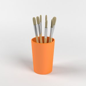 cup brushes 3d model