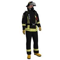 3d model rigged fireman