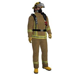 3d rigged fireman 2 model