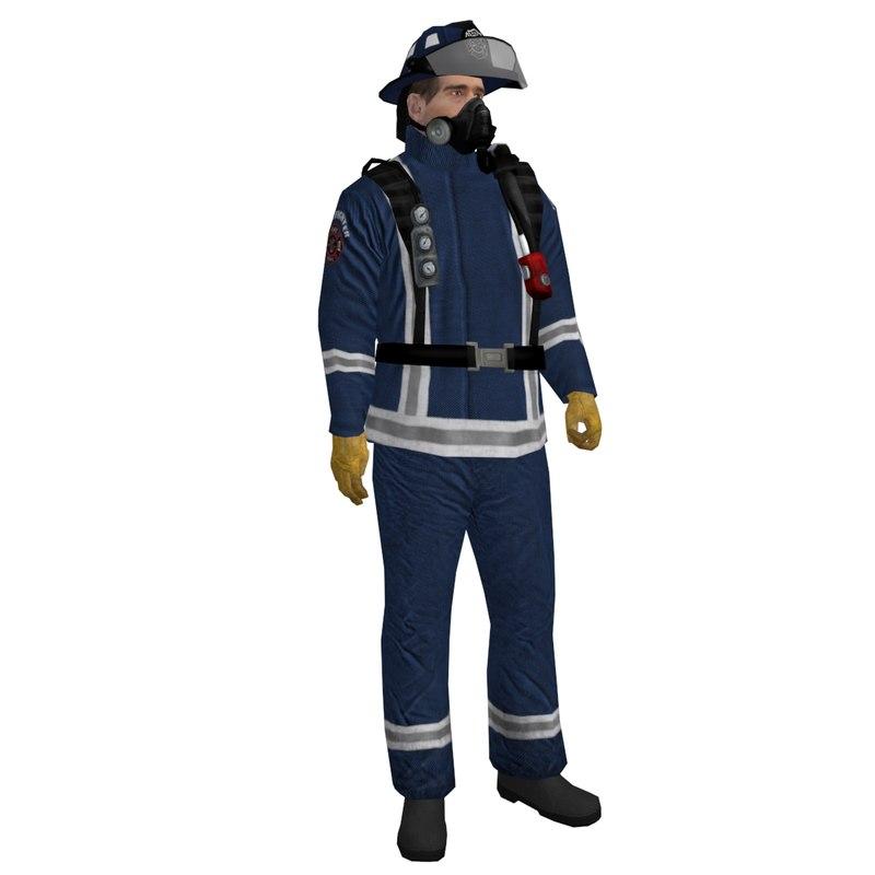 3d model rigged fireman 3