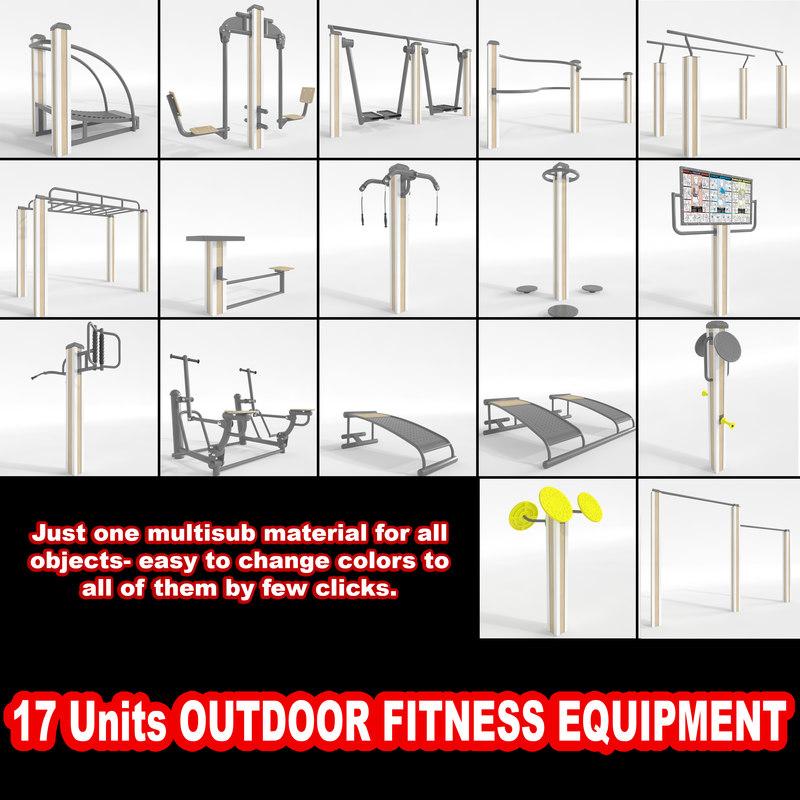 outdoor fitness equipment 3d model