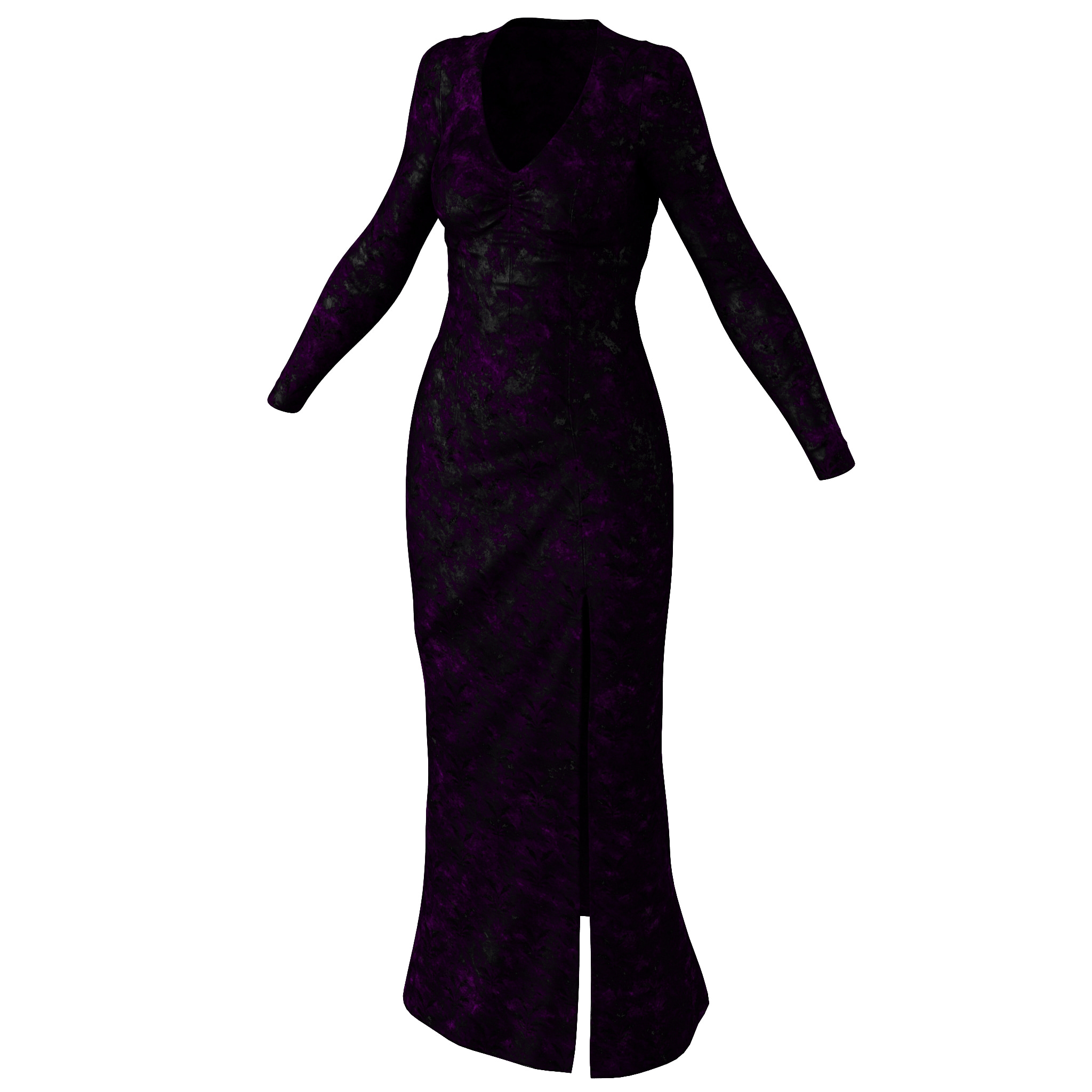 3d long black dress