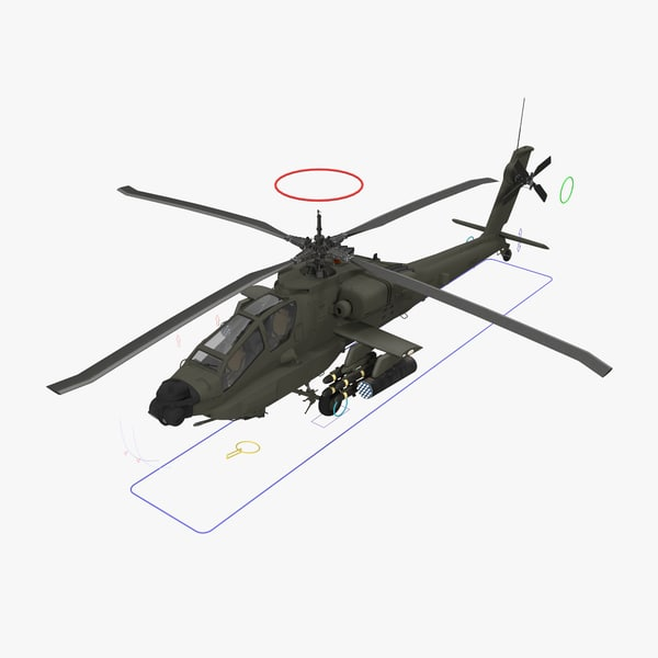 3d ah64a apache helicopter green model