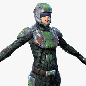 sci-fi armor female 5 3d max
