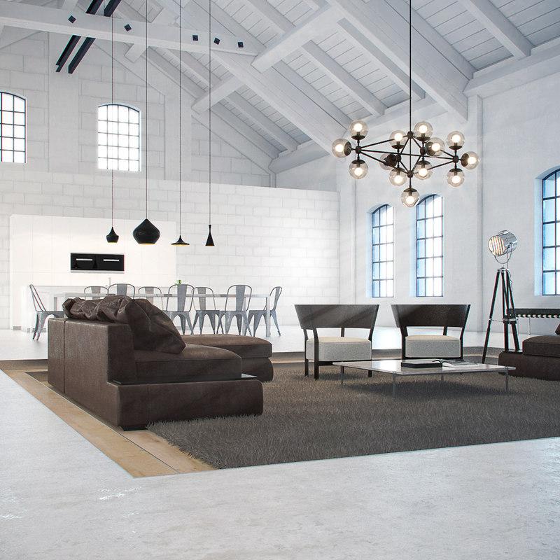 3d model loft kitchen dining