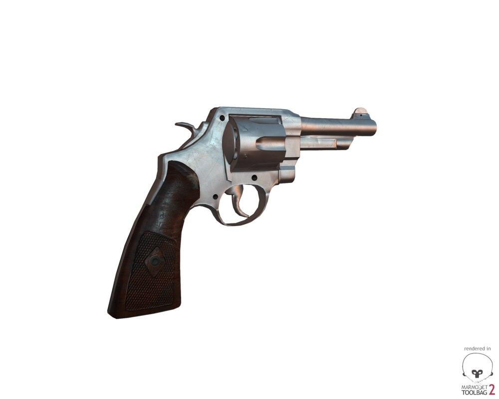 3d model of revolver gun