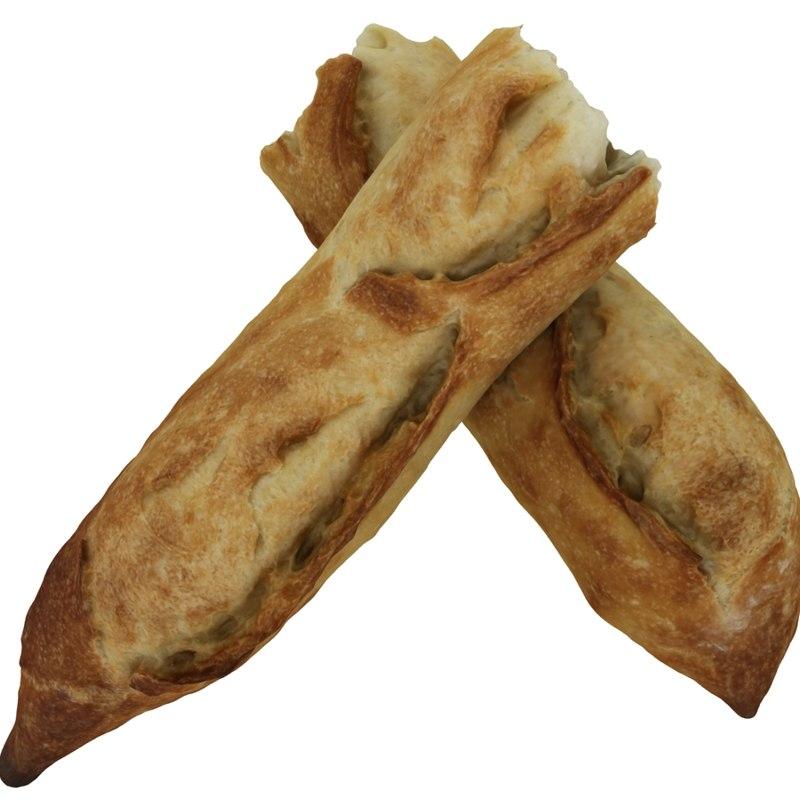 3d french baguette pieces