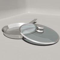 3d model stainless steel frying pan