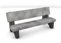 c4d stone park bench