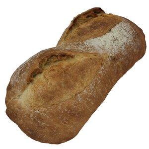 obj photorealistic white bloomer loaf