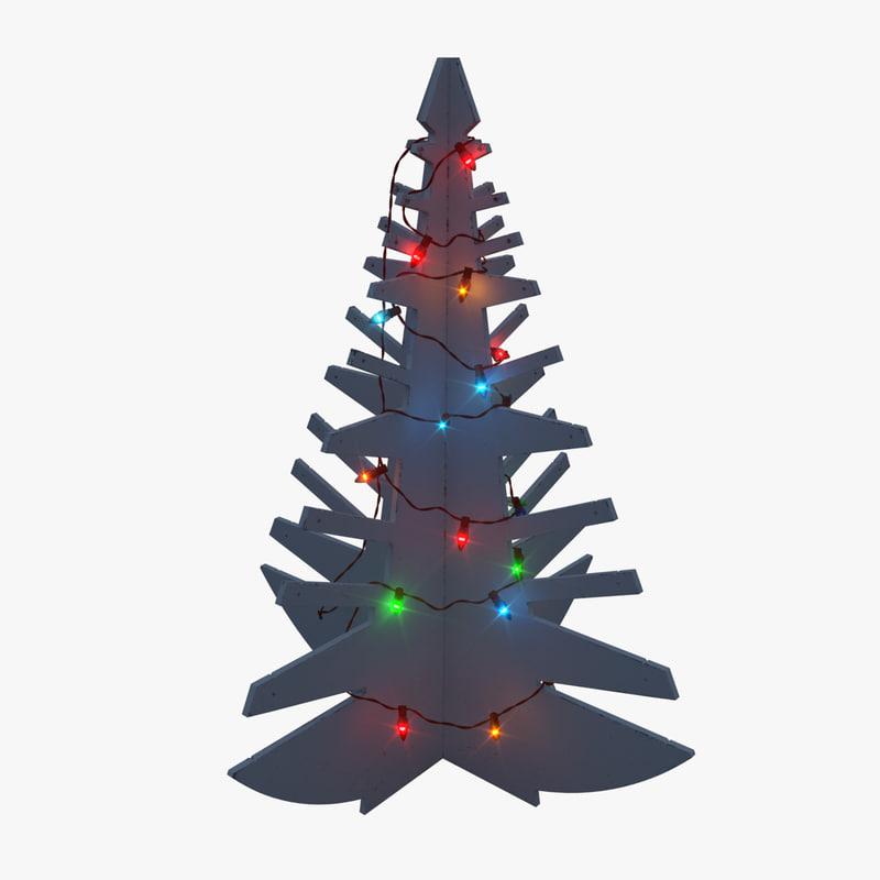 modern wooden tree 3d model