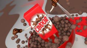 pack cereal 3d model