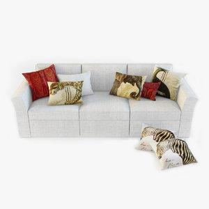 3d model pottery barn sofa pillows