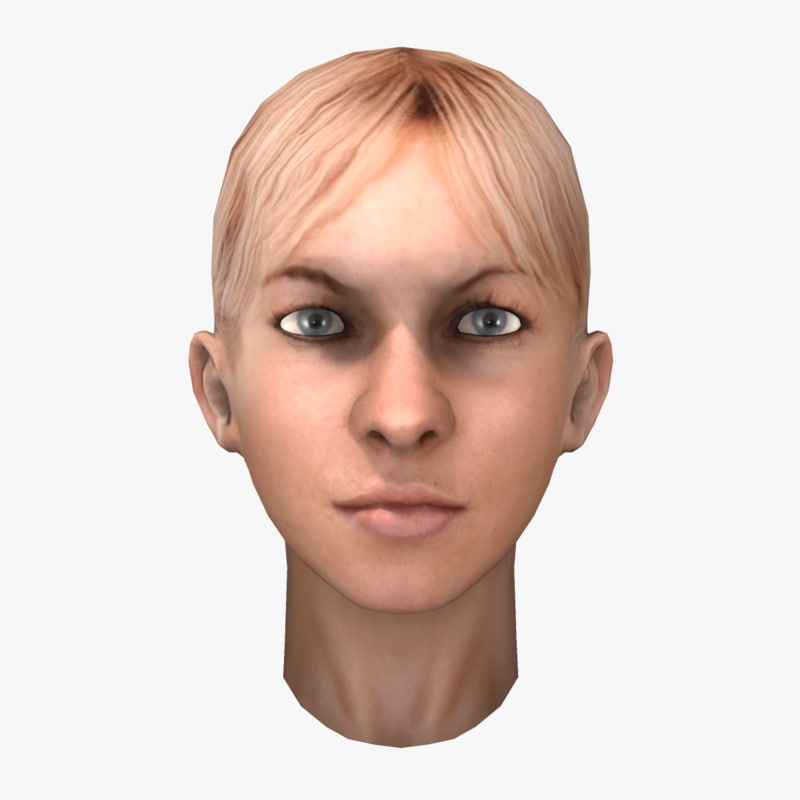blonde female head 3d model