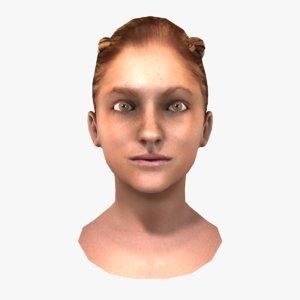 braided female head 3d obj