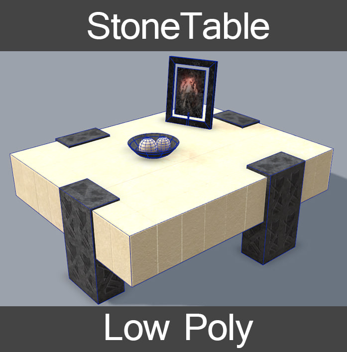 3d table stone model