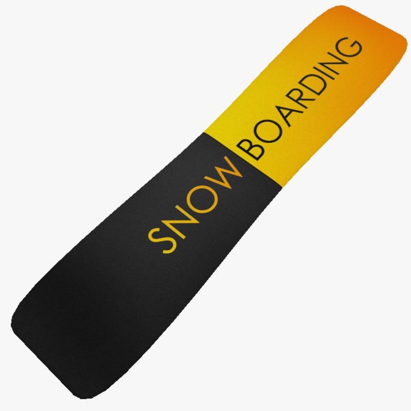 3d ready snowboard snow board model