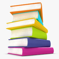 realistic colorful books 3ds