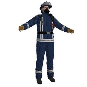 3d model fireman 3