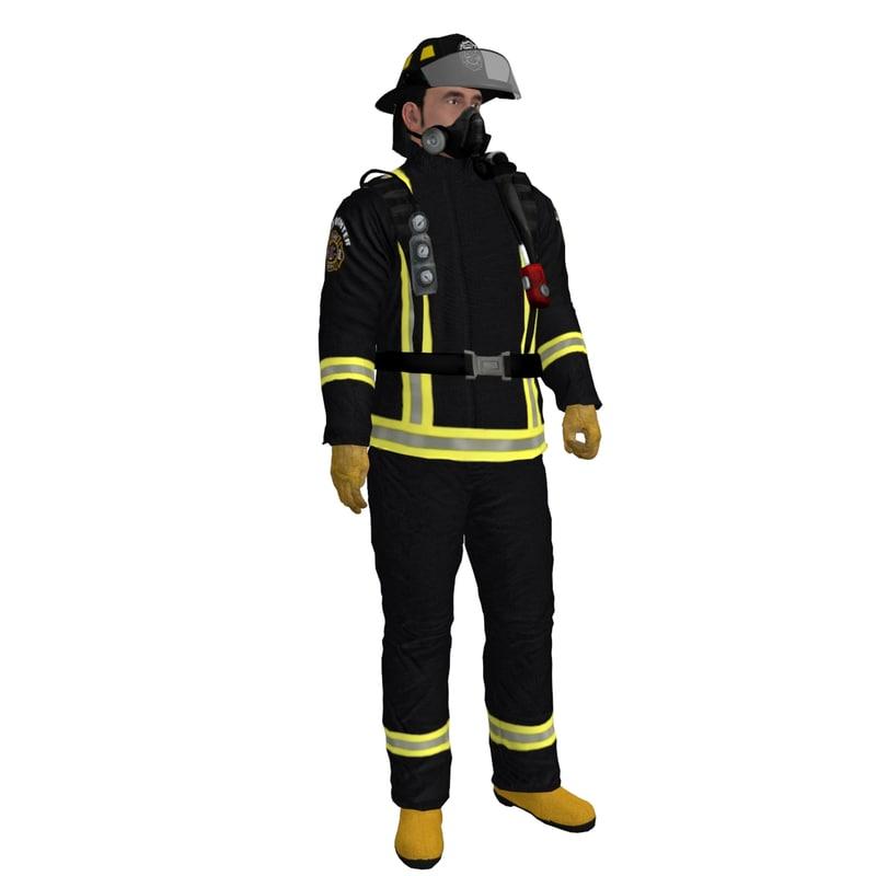 rigged fireman 3d model