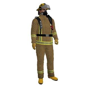 rigged fireman 2 3d model