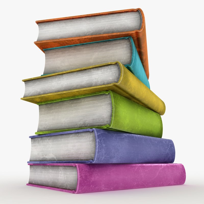realistic colorful books old fbx