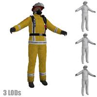 3d model fireman ready