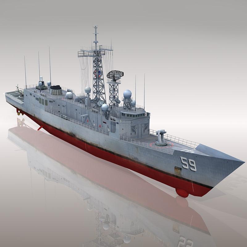 3d uss kauffman ffg-59 frigate model