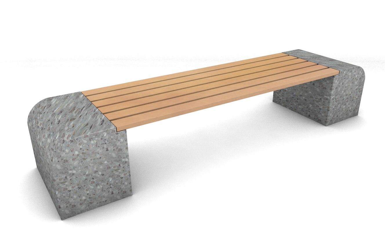 marble trex park bench 3d c4d