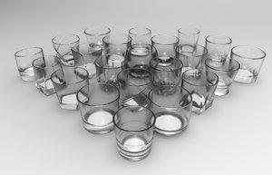 3d whiskey glass set