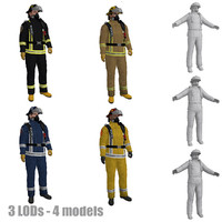 3d model pack rigged fireman s