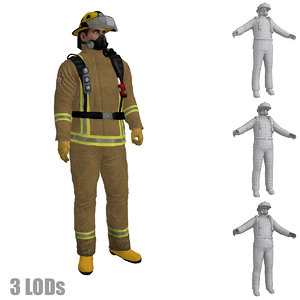 3d rigged fireman s 2