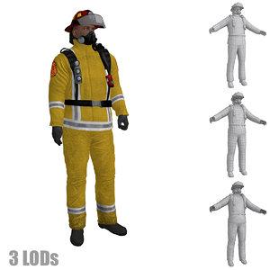 3d model rigged fireman s