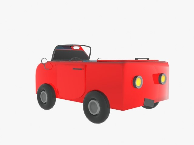 red cartoon car 3d max
