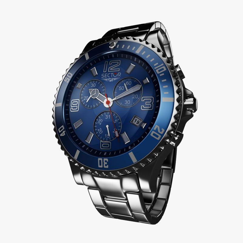 model sector watch steel blue