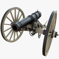 3d model 6 field cannon