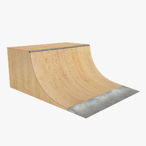 3d skate ramp quarter pipe model
