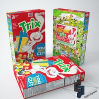 3d model of trix cereal box