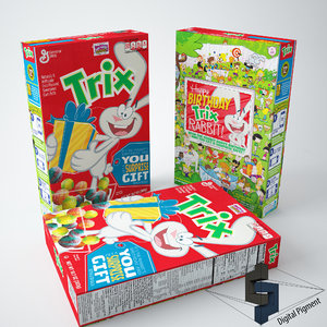 3d model of trix cereal box