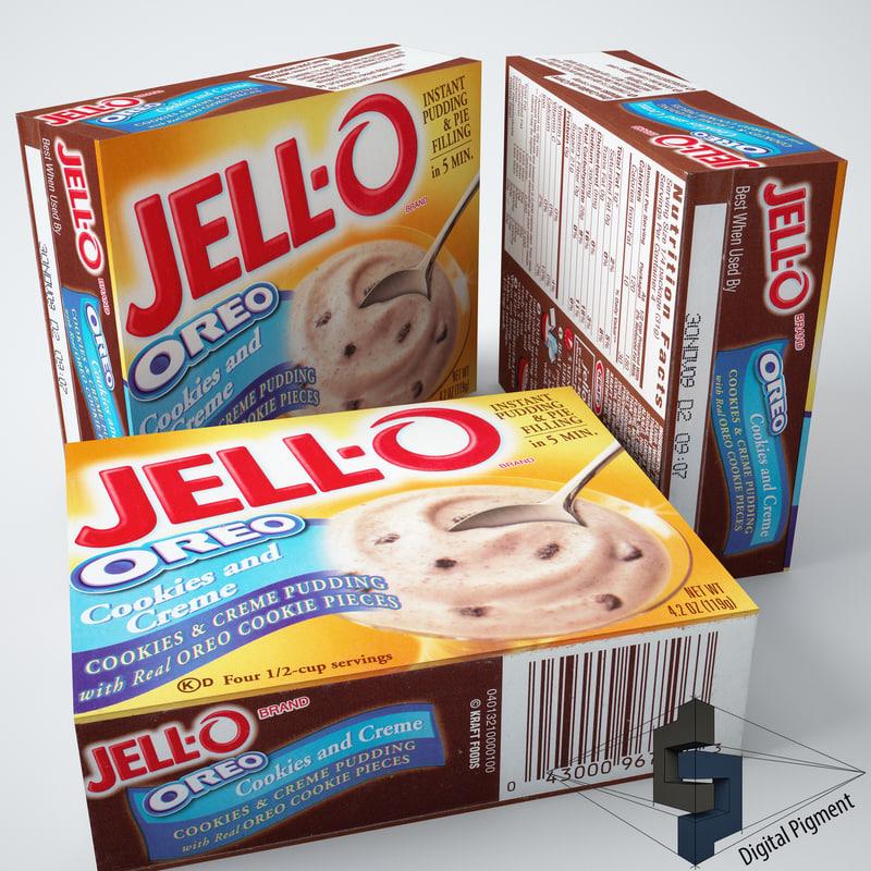 3d model jell-o oreo pudding