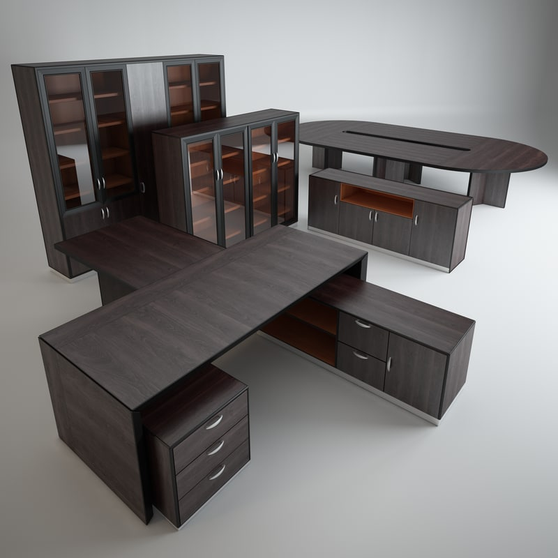 set office furniture table 3d model
