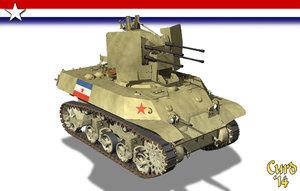 3d model wwii m3a3 tanks flakvierling