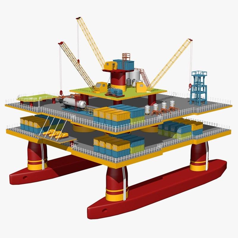 3d oil platform model