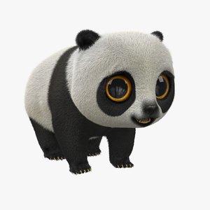 cute cartoon panda fur 3d max