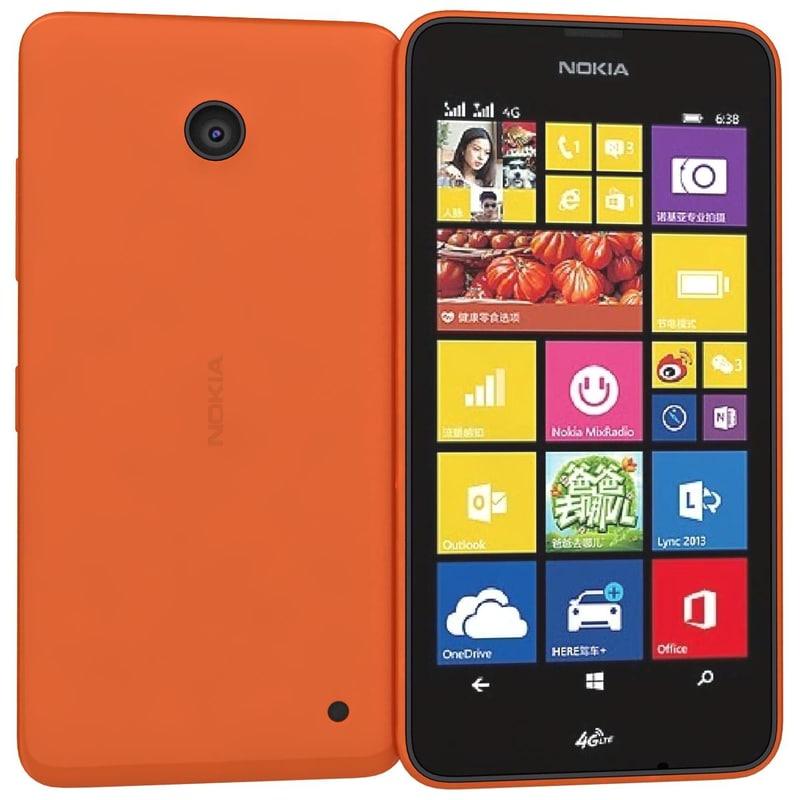 nokia lumia 638 orange 3d model