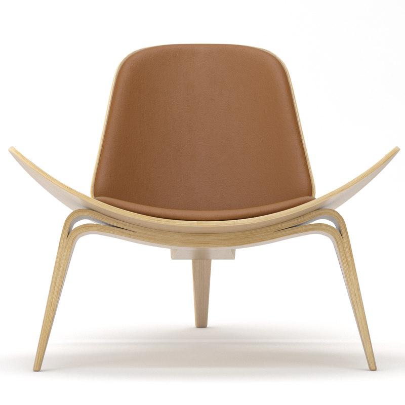 3d model of shell chair hans