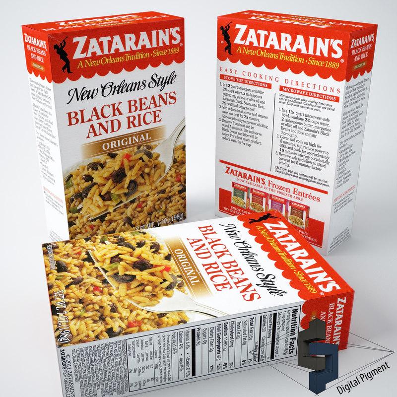 zatarains black beans rice 3d model