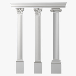 fluted pilaster set 3d max